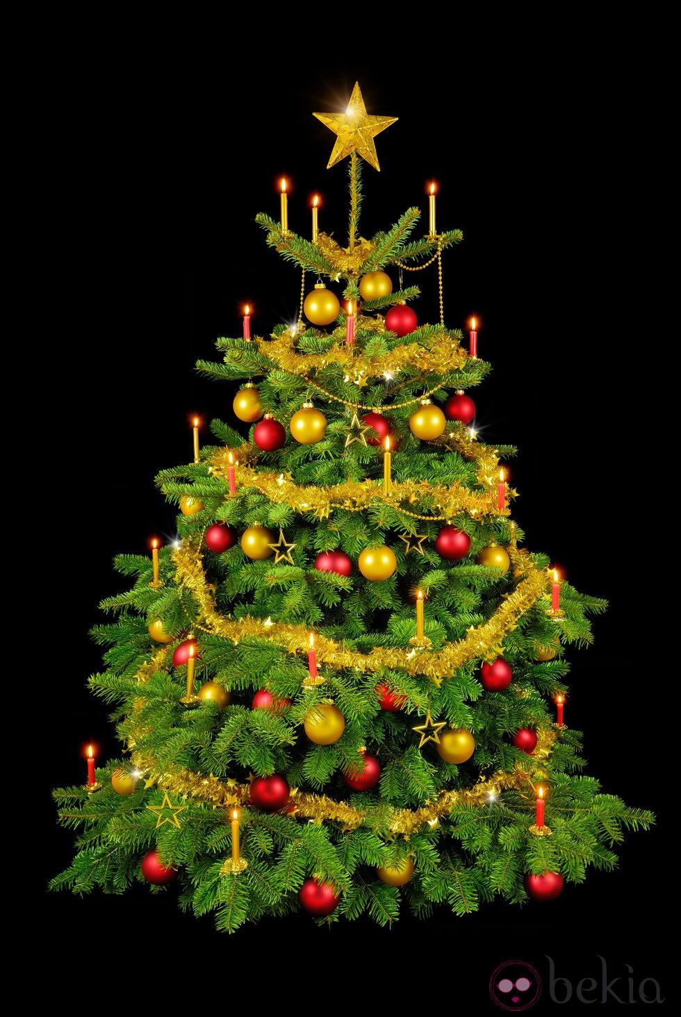 Decoracion mueble sofa arbol navidad dorado - Imagenes de arboles de navidad decorados ...